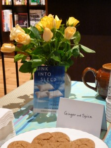 Five types of delicious homemade cookies were available, with tea, at the book signing.